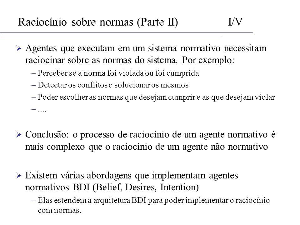 Raciocínio sobre normas (Parte II) I/V