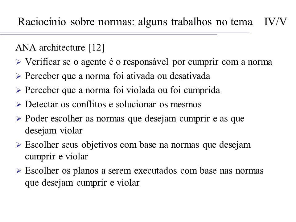 Raciocínio sobre normas: alguns trabalhos no tema IV/V
