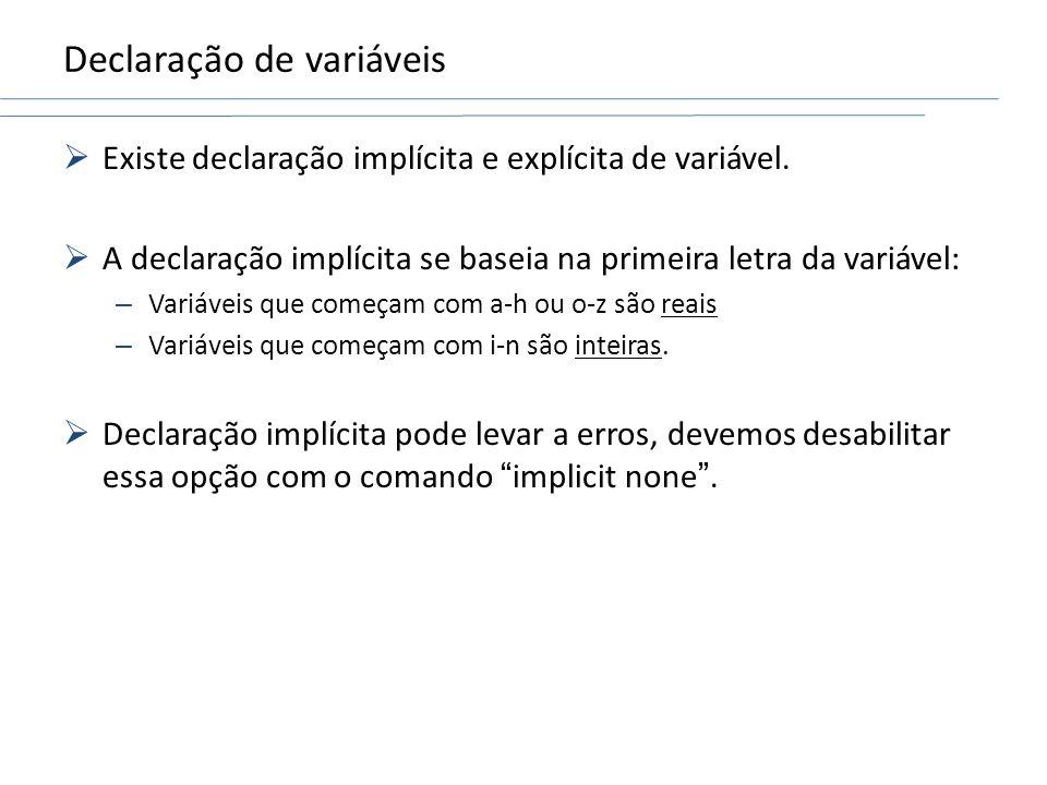 Declaração de variáveis
