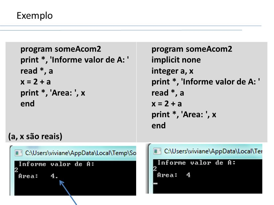 Exemplo program someAcom2 print *, Informe valor de A: read *, a