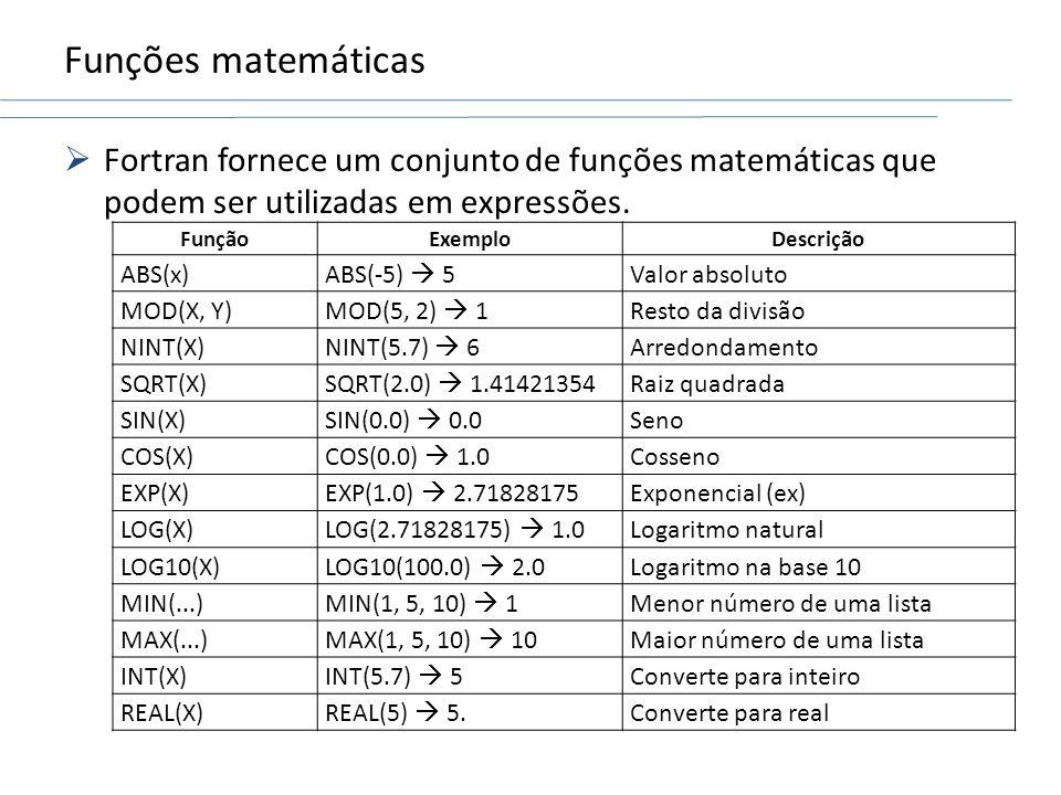 Funções matemáticas Fortran fornece um conjunto de funções matemáticas que podem ser utilizadas em expressões.