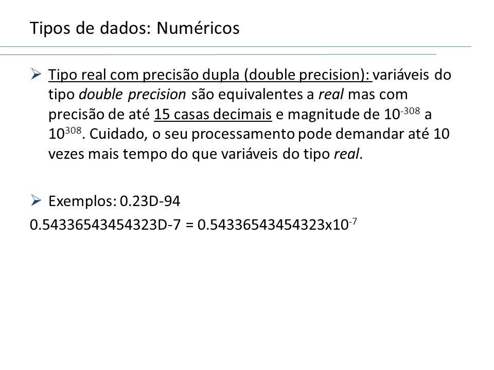 Tipos de dados: Numéricos