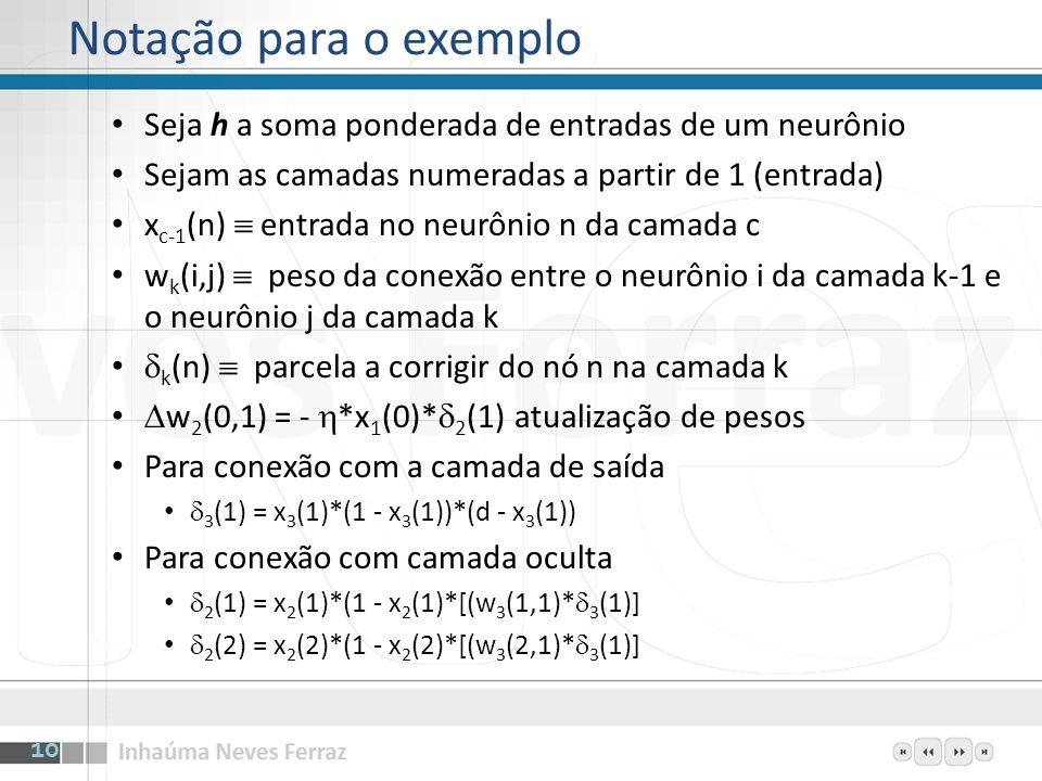 Notação para o exemplo Seja h a soma ponderada de entradas de um neurônio. Sejam as camadas numeradas a partir de 1 (entrada)