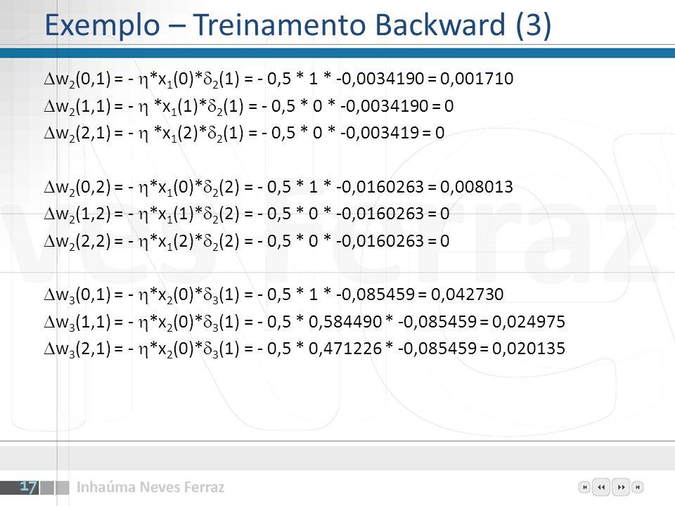 Exemplo – Treinamento Backward (3)