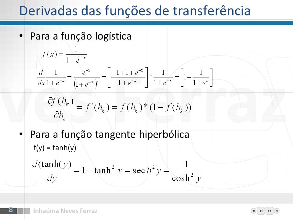 Derivadas das funções de transferência