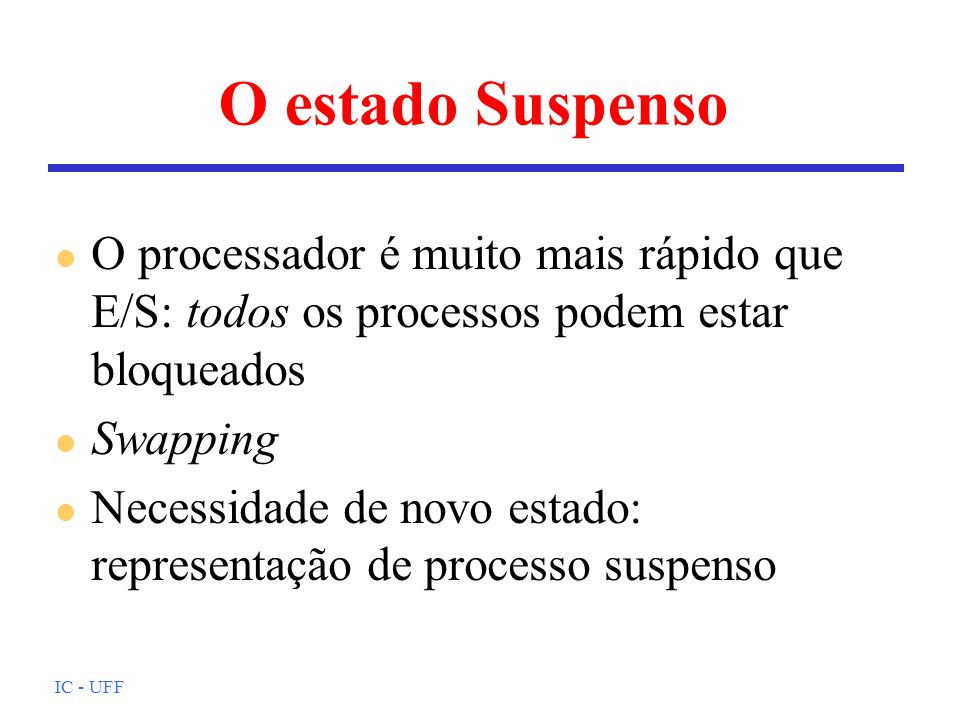 O estado SuspensoO processador é muito mais rápido que E/S: todos os processos podem estar bloqueados.