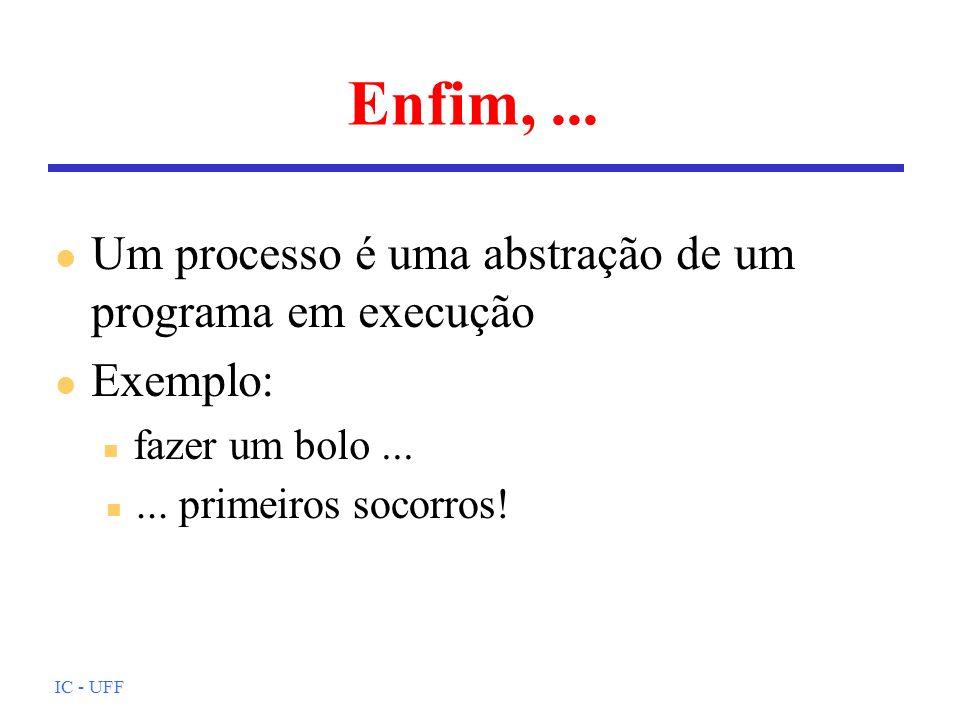 Enfim, ... Um processo é uma abstração de um programa em execução