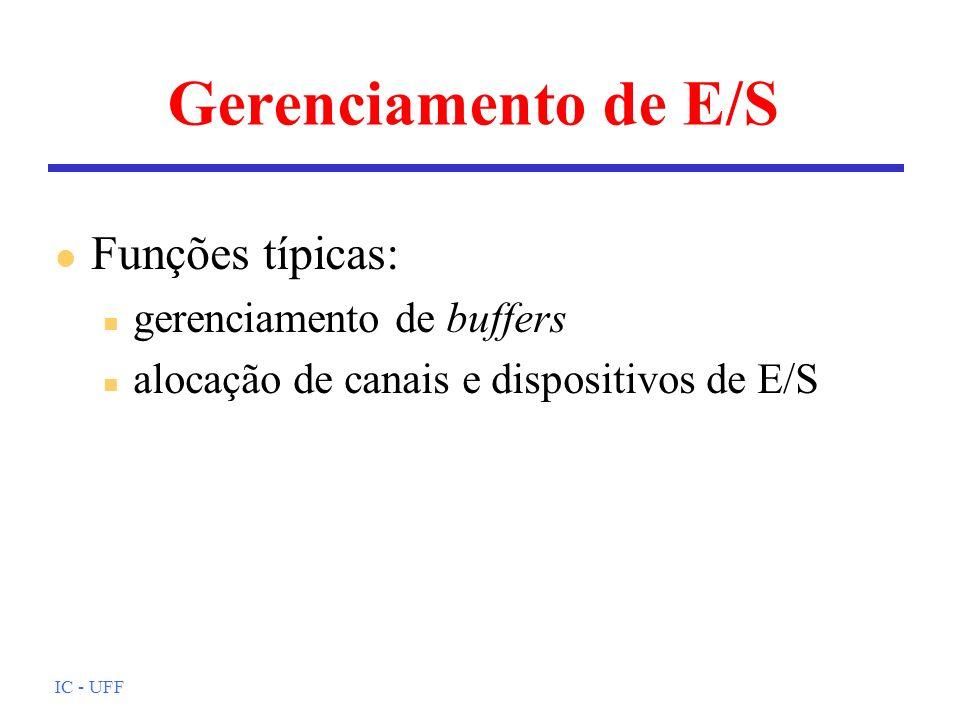 Gerenciamento de E/S Funções típicas: gerenciamento de buffers