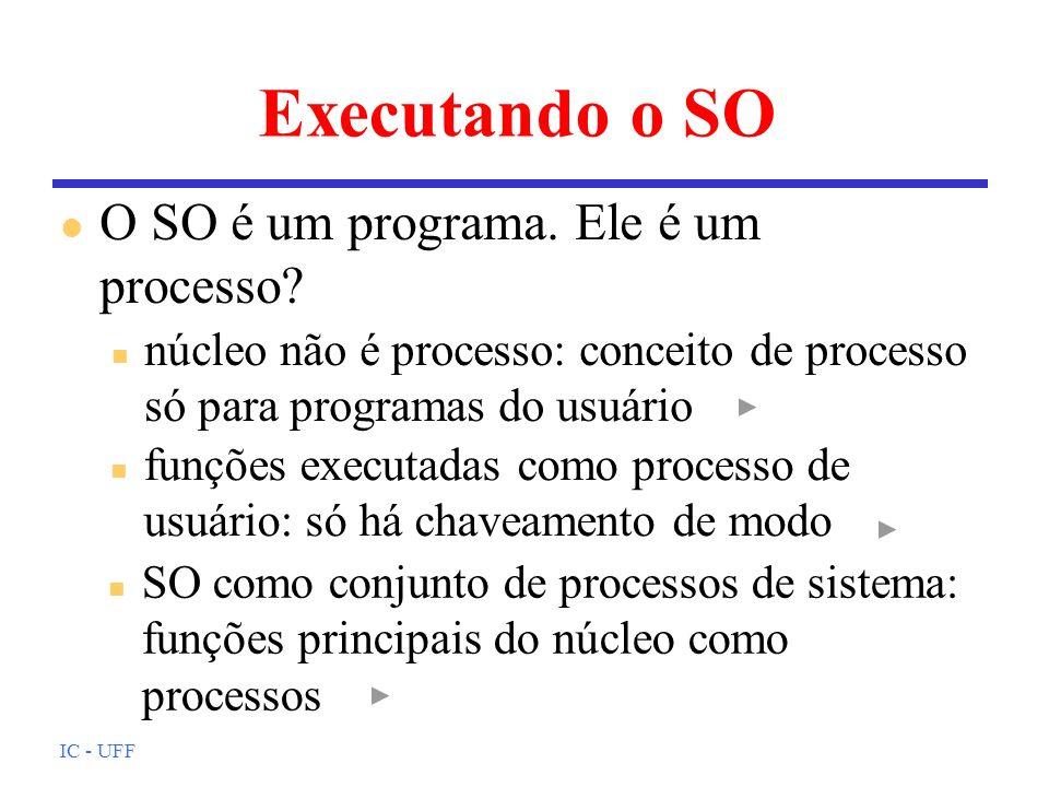 Executando o SO O SO é um programa. Ele é um processo