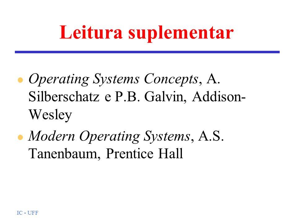 Leitura suplementar Operating Systems Concepts, A. Silberschatz e P.B. Galvin, Addison-Wesley.