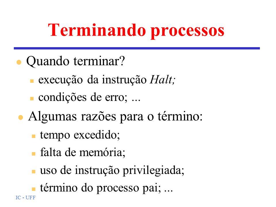 Terminando processos Quando terminar Algumas razões para o término: