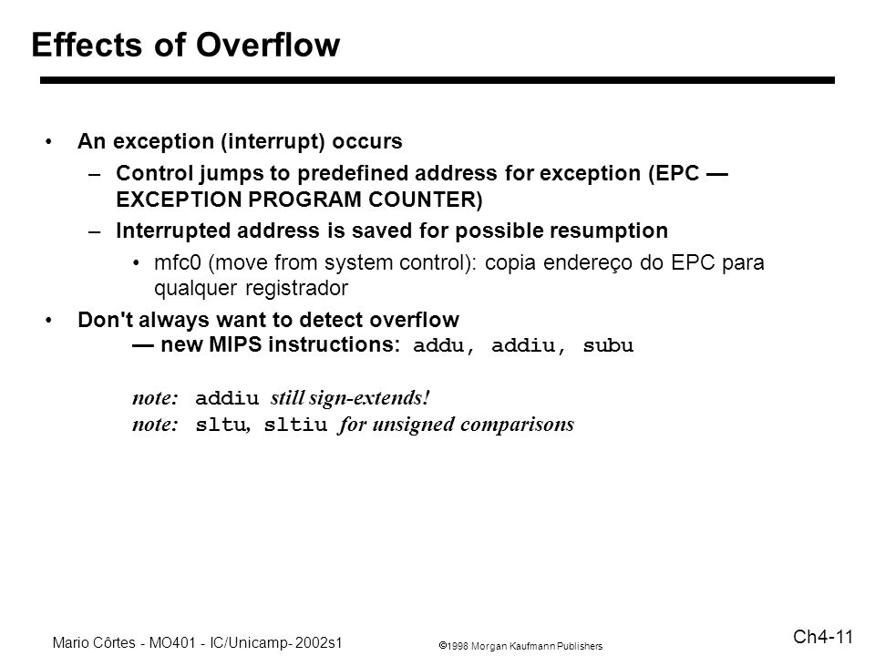 Effects of Overflow An exception (interrupt) occurs