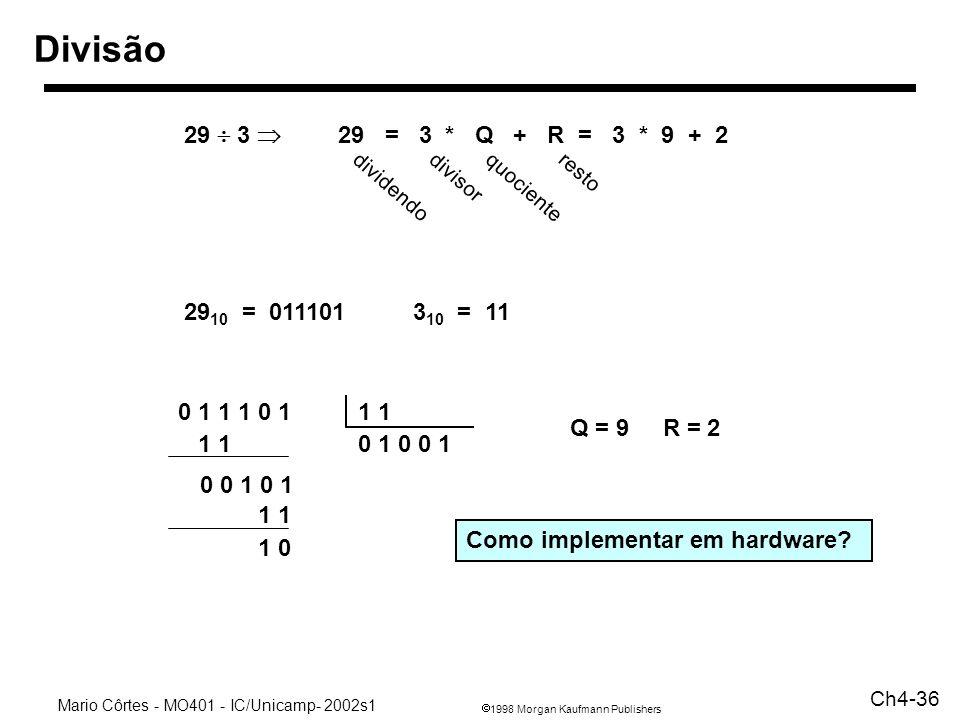 Divisão 29  3 Þ 29 = 3 * Q + R = 3 * 9 + 2. divisor. resto. dividendo.