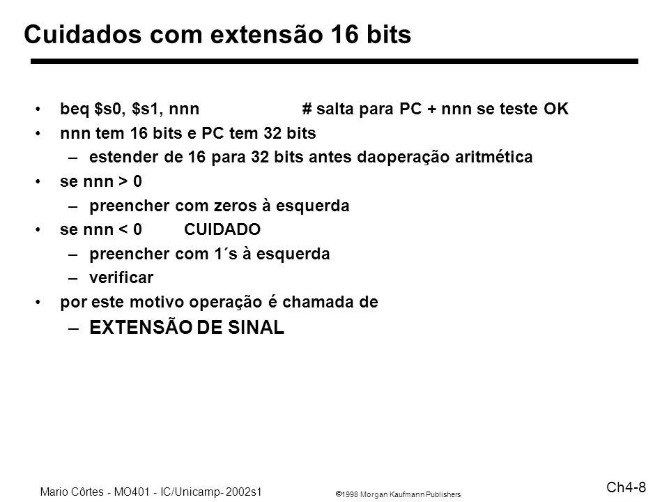 Cuidados com extensão 16 bits