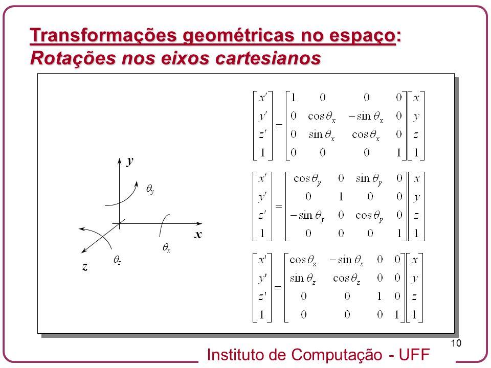 Transformações geométricas no espaço: Rotações nos eixos cartesianos