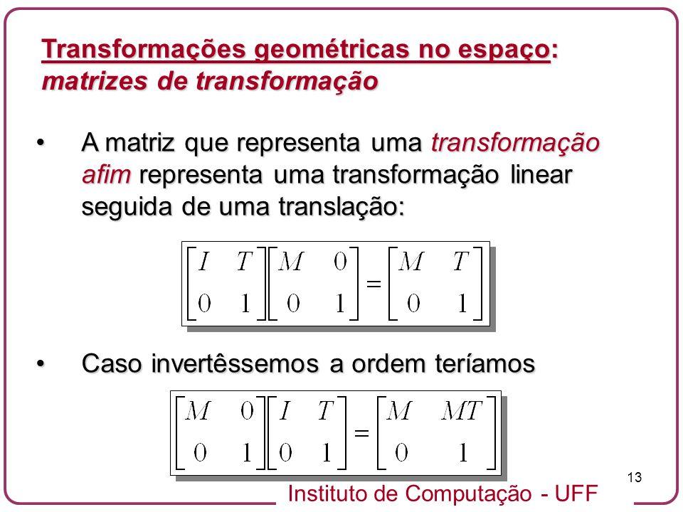 Transformações geométricas no espaço: matrizes de transformação