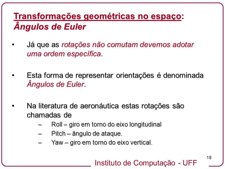 Transformações geométricas no espaço: Ângulos de Euler