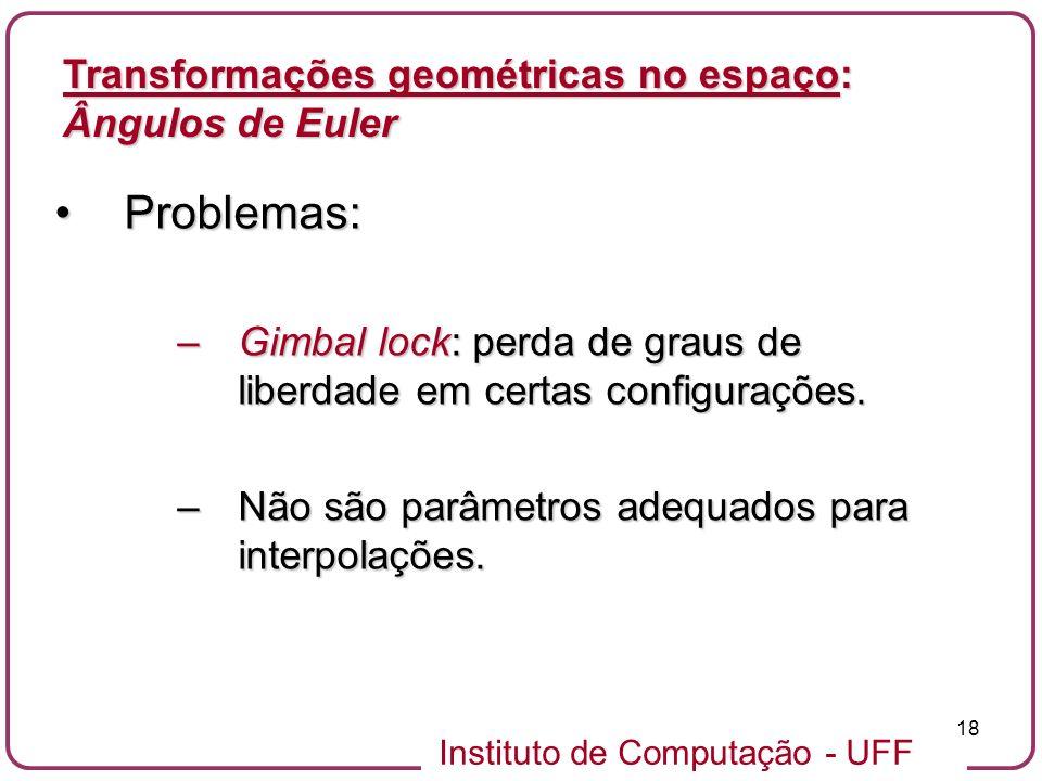 Problemas: Transformações geométricas no espaço: Ângulos de Euler