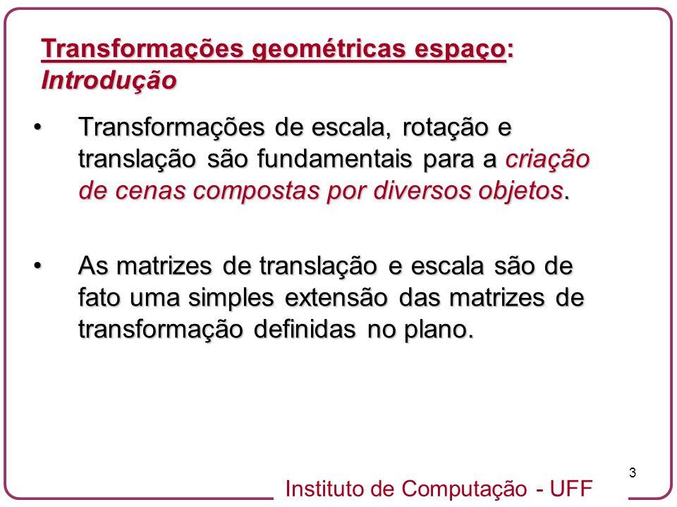 Transformações geométricas espaço: Introdução