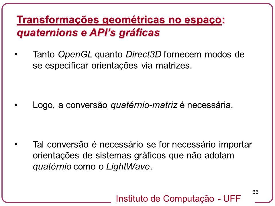 Transformações geométricas no espaço: quaternions e API's gráficas