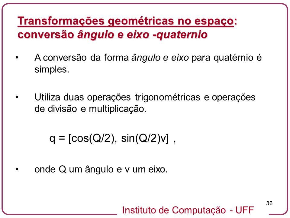 Transformações geométricas no espaço: conversão ângulo e eixo -quaternio