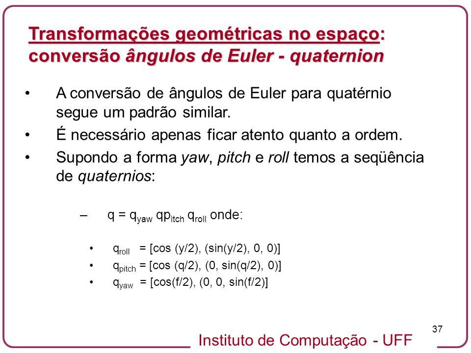 Transformações geométricas no espaço: conversão ângulos de Euler - quaternion