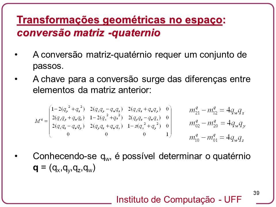 Transformações geométricas no espaço: conversão matriz -quaternio