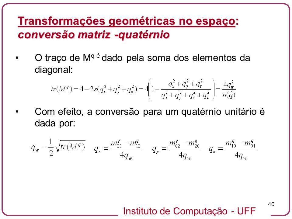 Transformações geométricas no espaço: conversão matriz -quatérnio