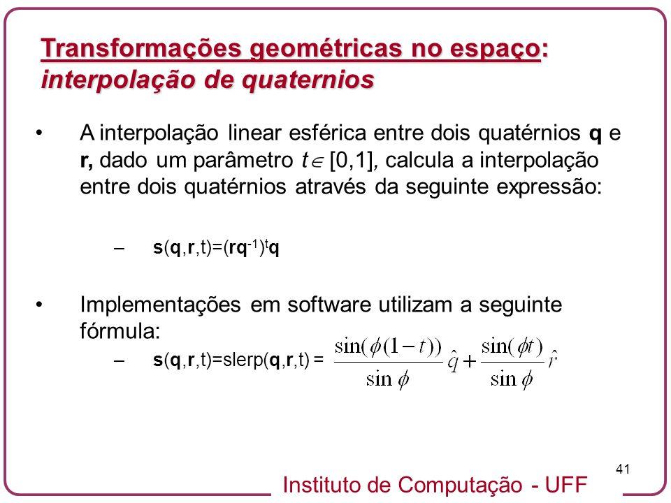 Transformações geométricas no espaço: interpolação de quaternios