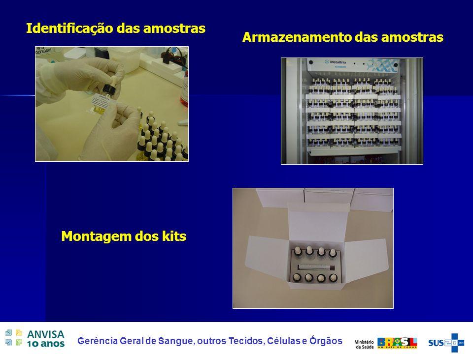 Identificação das amostras Armazenamento das amostras