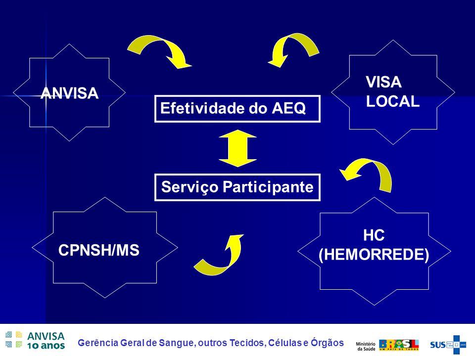HC (HEMORREDE) VISA LOCAL ANVISA Efetividade do AEQ Serviço Participante CPNSH/MS