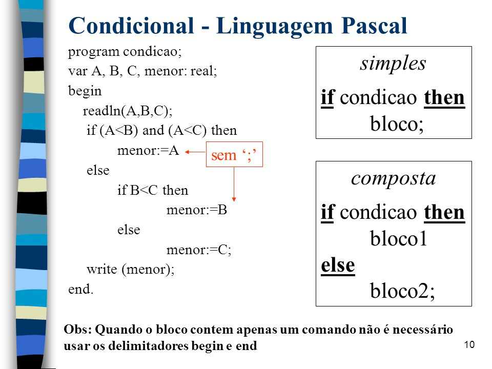 Condicional - Linguagem Pascal