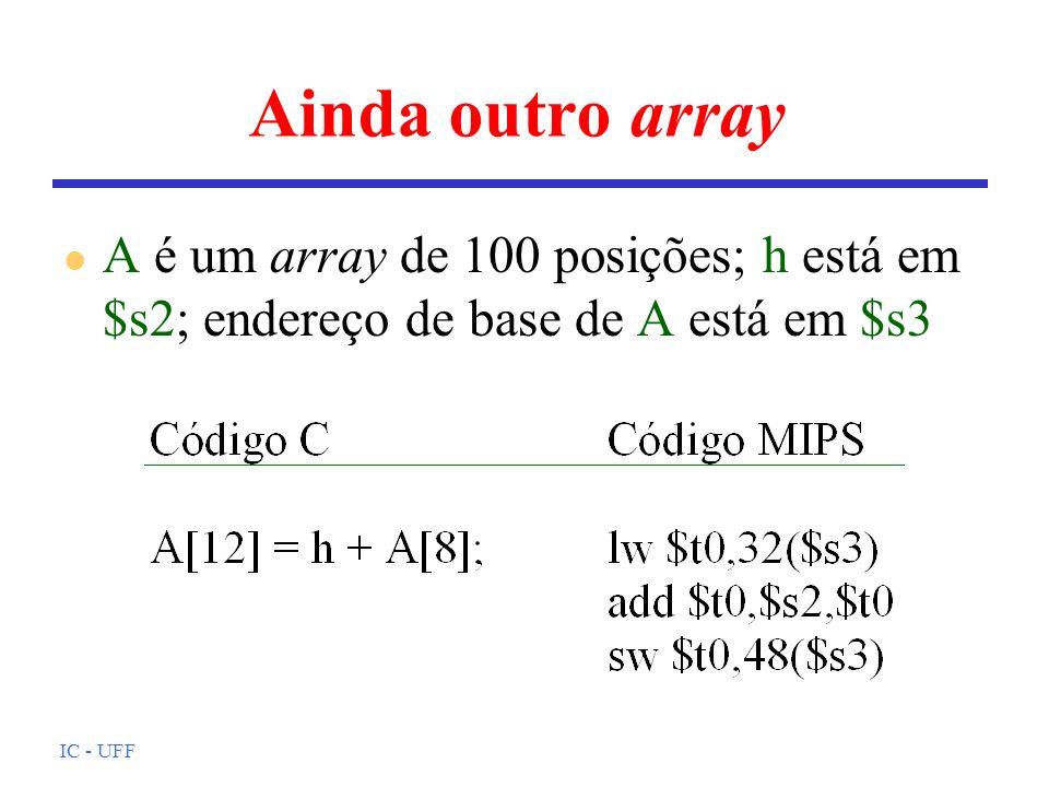 Ainda outro arrayA é um array de 100 posições; h está em $s2; endereço de base de A está em $s3.