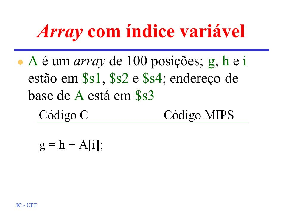 Array com índice variável