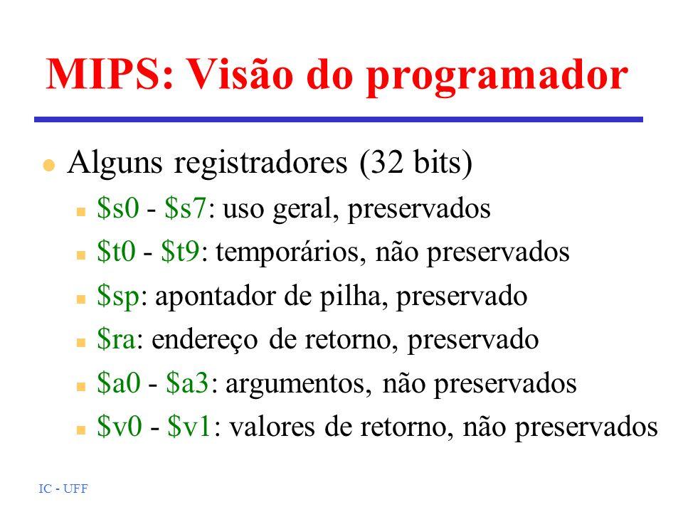 MIPS: Visão do programador