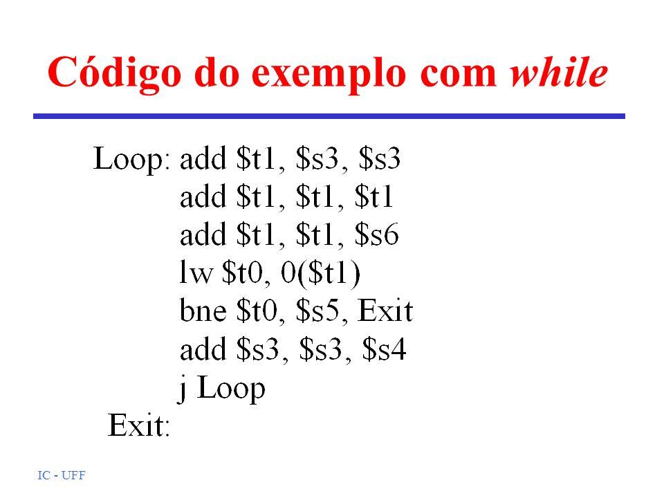 Código do exemplo com while