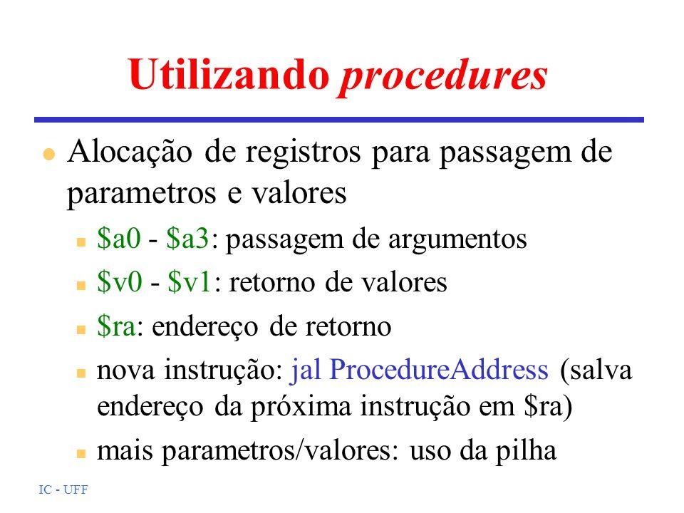 Utilizando procedures