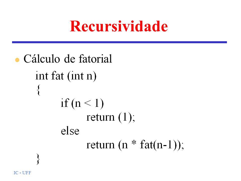 Recursividade Cálculo de fatorial IC - UFF