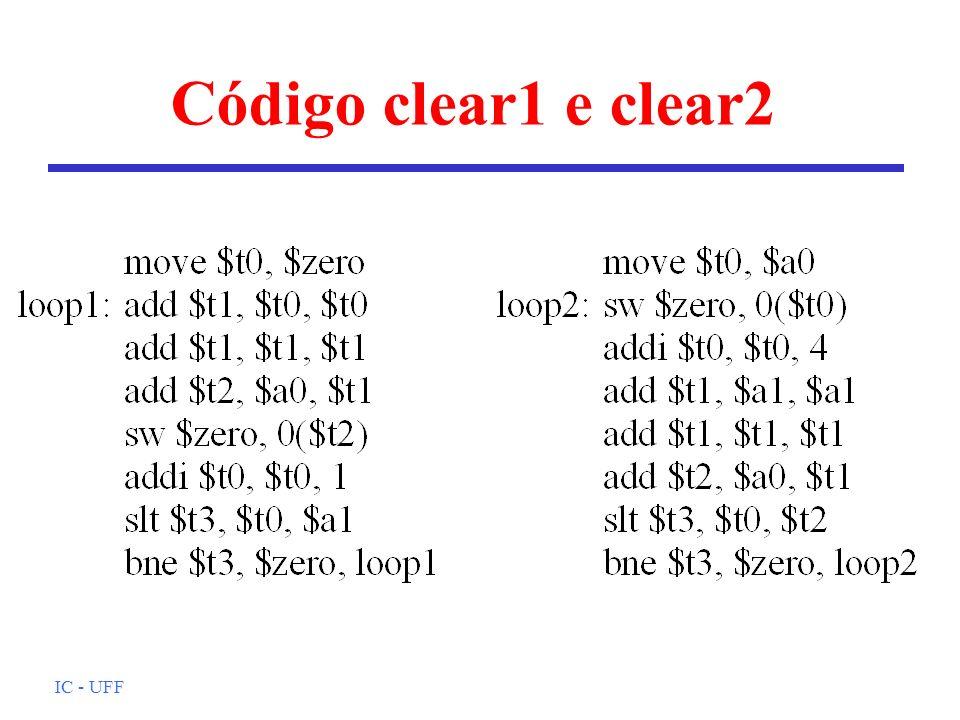 Código clear1 e clear2 IC - UFF