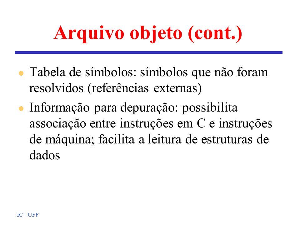 Arquivo objeto (cont.) Tabela de símbolos: símbolos que não foram resolvidos (referências externas)
