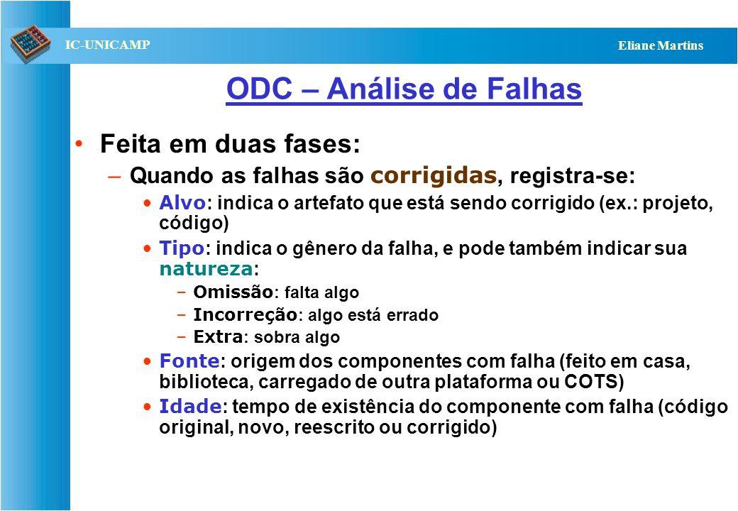 ODC – Análise de Falhas Feita em duas fases:
