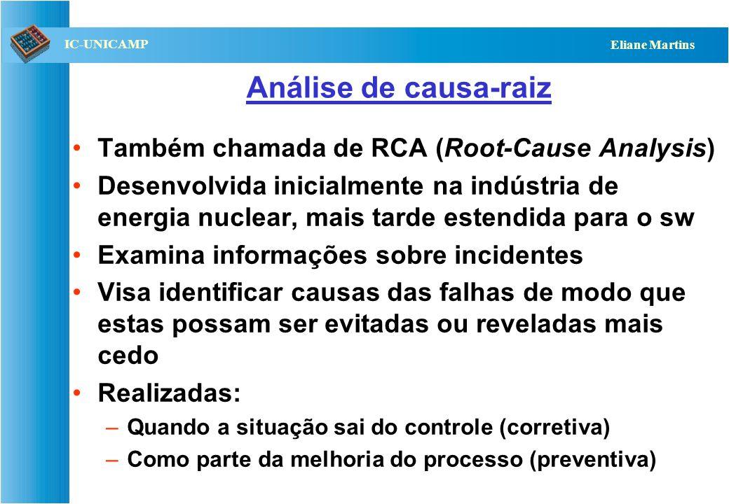 Análise de causa-raiz Também chamada de RCA (Root-Cause Analysis)