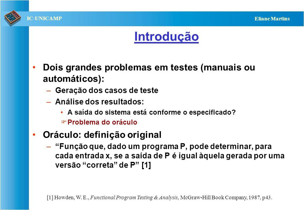 Introdução Dois grandes problemas em testes (manuais ou automáticos):
