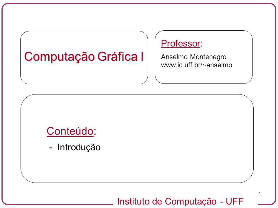 Computação Gráfica I Conteúdo: Professor: - Introdução