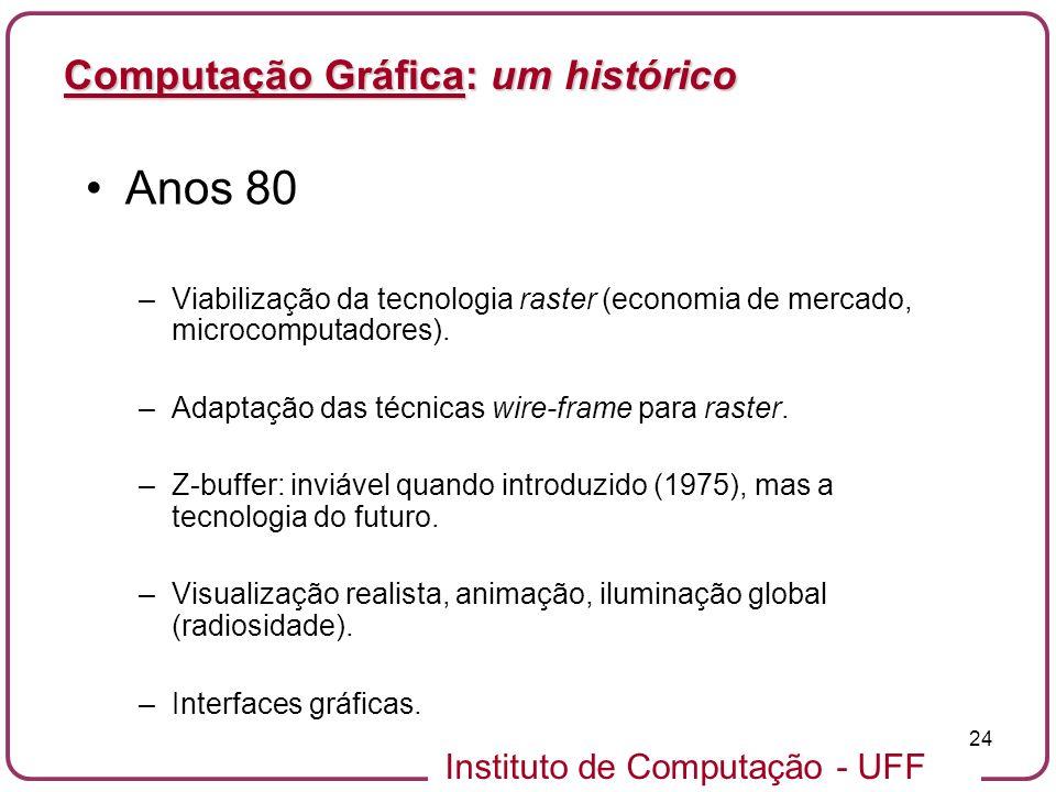 Anos 80 Computação Gráfica: um histórico