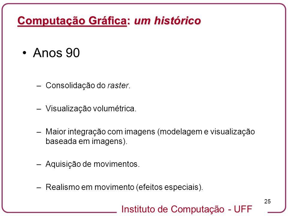 Anos 90 Computação Gráfica: um histórico Consolidação do raster.