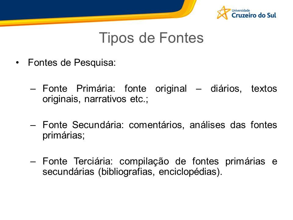 Tipos de Fontes Fontes de Pesquisa:
