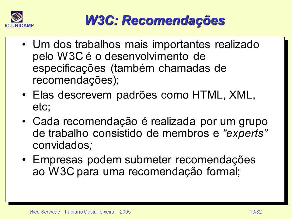 W3C: Recomendações Um dos trabalhos mais importantes realizado pelo W3C é o desenvolvimento de especificações (também chamadas de recomendações);