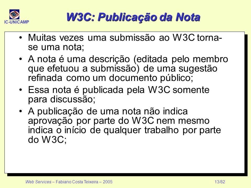 W3C: Publicação da Nota Muitas vezes uma submissão ao W3C torna- se uma nota;