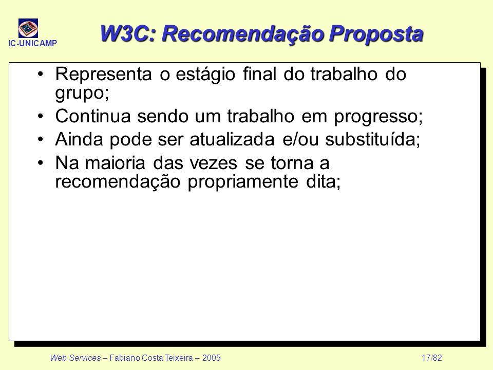 W3C: Recomendação Proposta